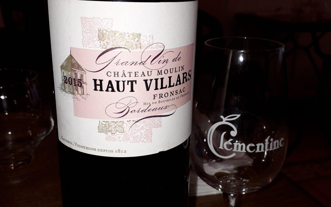 Château Moulin Haut Villars 2015 à Fronsac, Thierry Gaudrie